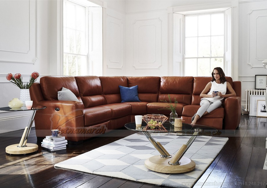 Những mẫu ghế sofa da nâu đẹp quyến rũ cho không gian phòng khách - 03