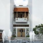 Thiết kế nhà thờ họ 2 tầng trên khu đất hẹp, mặt tiền 4,5m ở Hà Đông – Hà Nội
