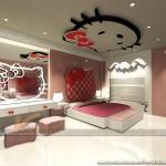 Thiết kế trần thạch cao cho phòng ngủ bé gái cực xinh