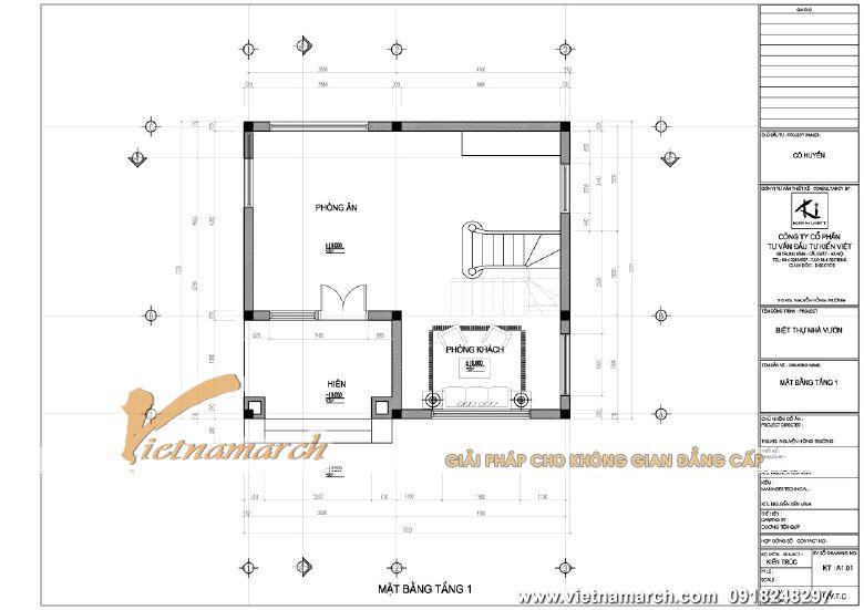 Mặt bằng thiết kế tầng 1 - mẫu nhà phố 2 tầng mái thái hiện đại tại Hải Phòng