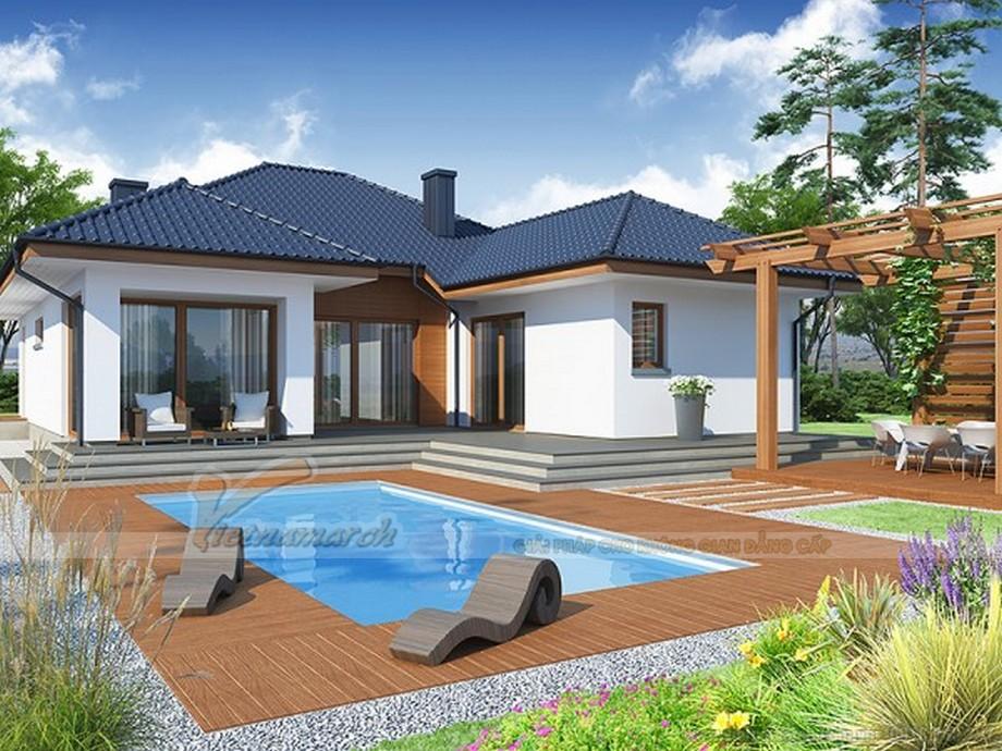 Thiết kế biệt thự sân vườn 1 tầng hiện đại, có bể bơi