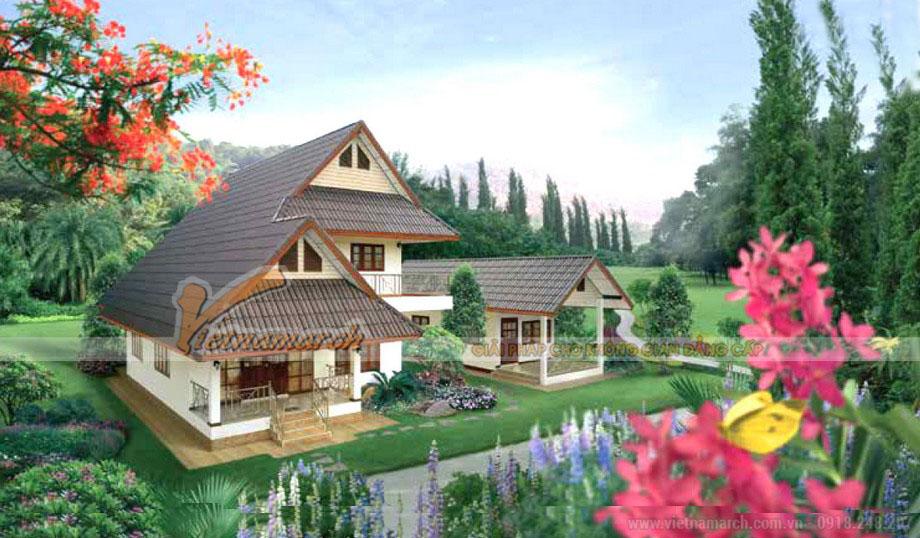 Phối cảnh tổng thể ngôi biệt thự 2 tầng mái thái đẹp lung linh cho chú Phúc tại Sapa- Lào Cai