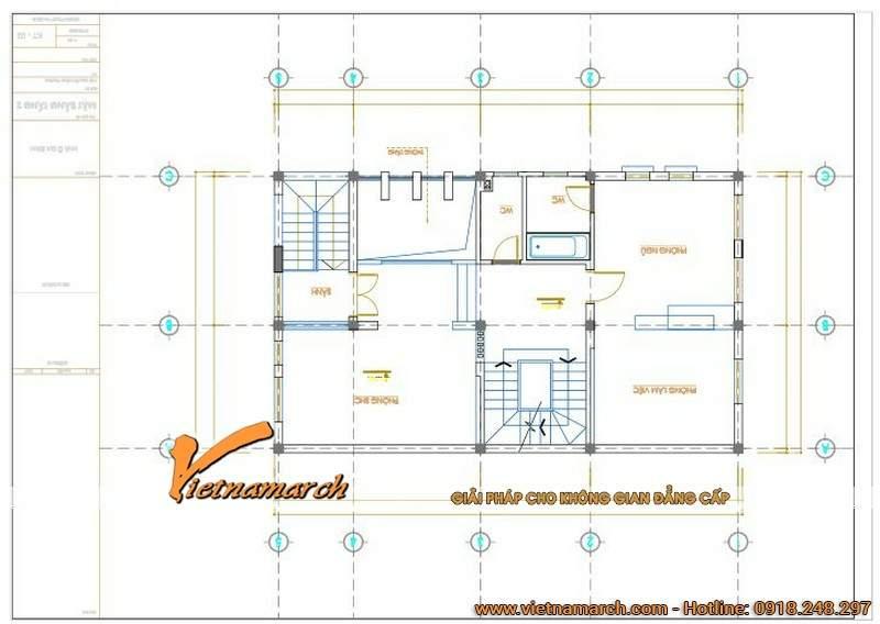 Mặt bằng thiết kế tầng 2 của ngôi biệt thự phố 3 tầng.