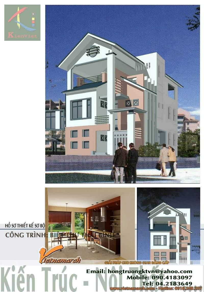 Phối cảnh tổng thể kiến trúc biệt thự nhà phố 3 tầng tại Hà Tĩnh.