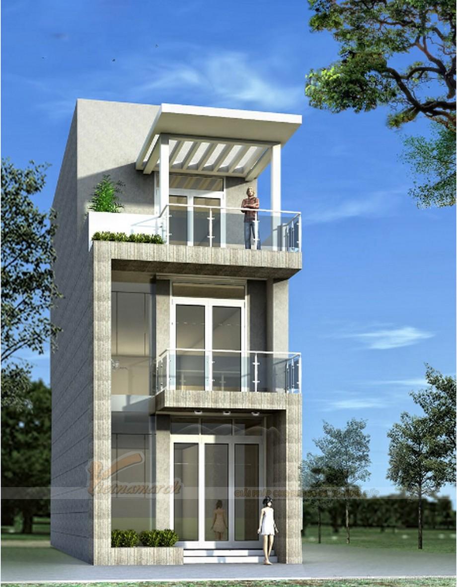 Tổng hợp 15 mẫu nhà phố 3 tầng cực đẹp, mặt tiền chưa đầy 5m-01