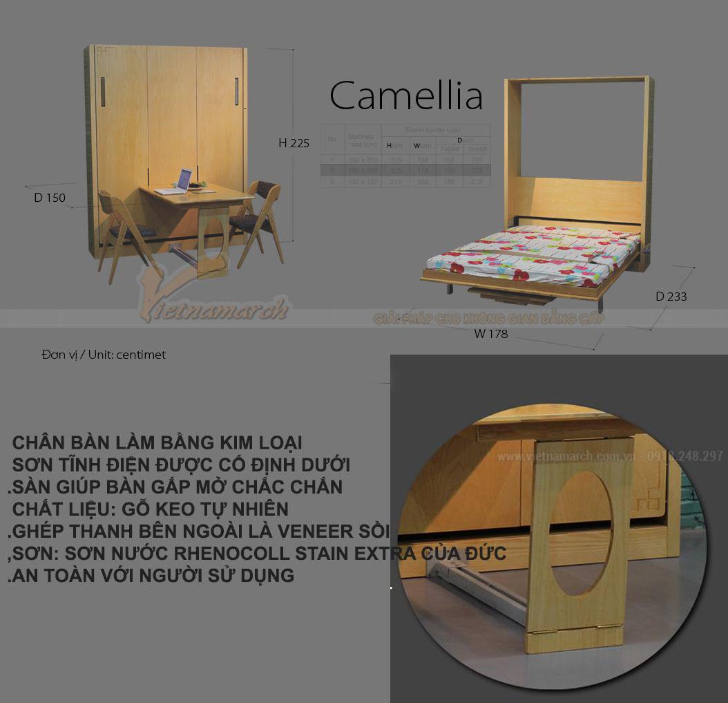 Chất liệu của bộ sản phẩm bàn ăn 4 người + giường đôi Camellia.