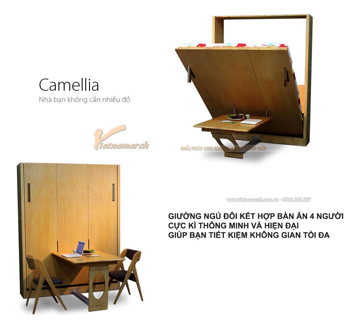 Chức năng của bộ sản phẩm bàn ăn 4 người + giường đôi Camellia.