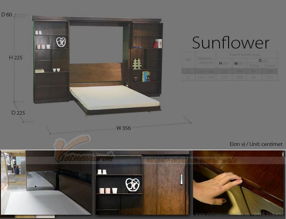 Thông số kỹ thuật mẫu tủ giường 4 cánh, giường đôi sunflower