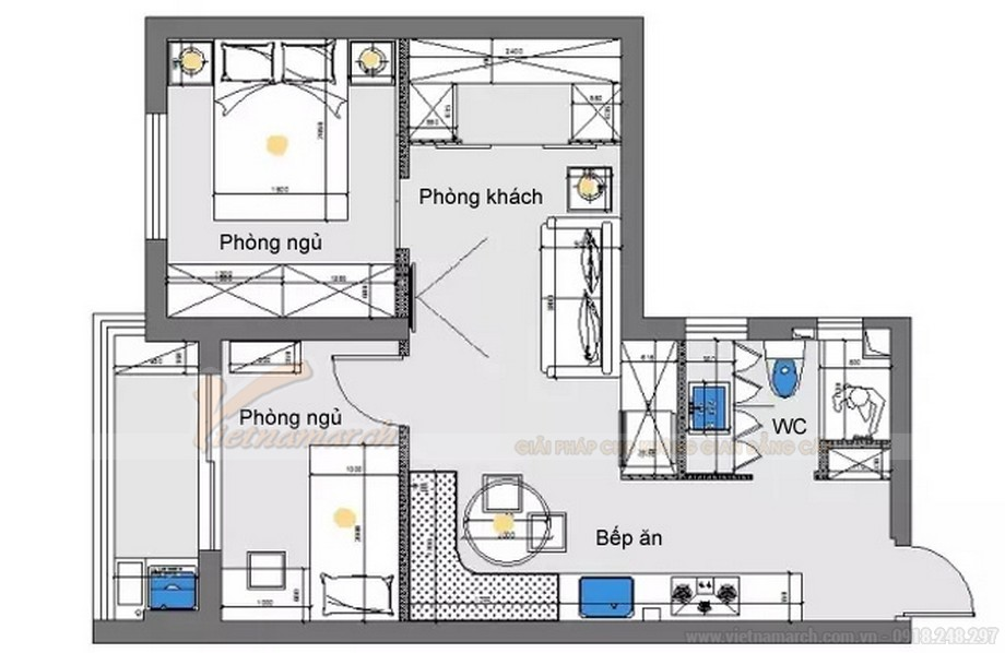 Mặt bằng thiết kế căn hộ 48m2