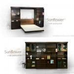 Mẫu tủ giường 4 cánh kết hợp giường đôi sunflower