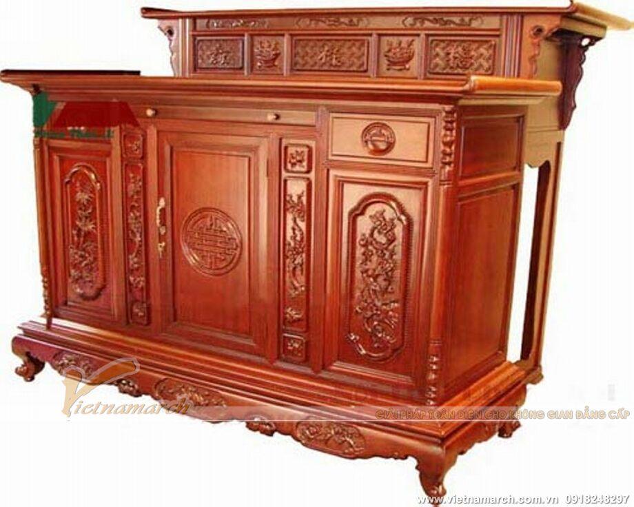 Mẫu tủ thờ gỗ được thiết kế 2 cấp - phù hợp cho nhà tổ, nhà thờ họ