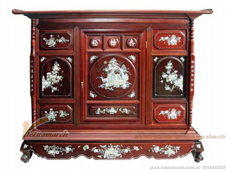 mẫu tủ thờ điển hình với họa tiết trạm khảm tinh tế