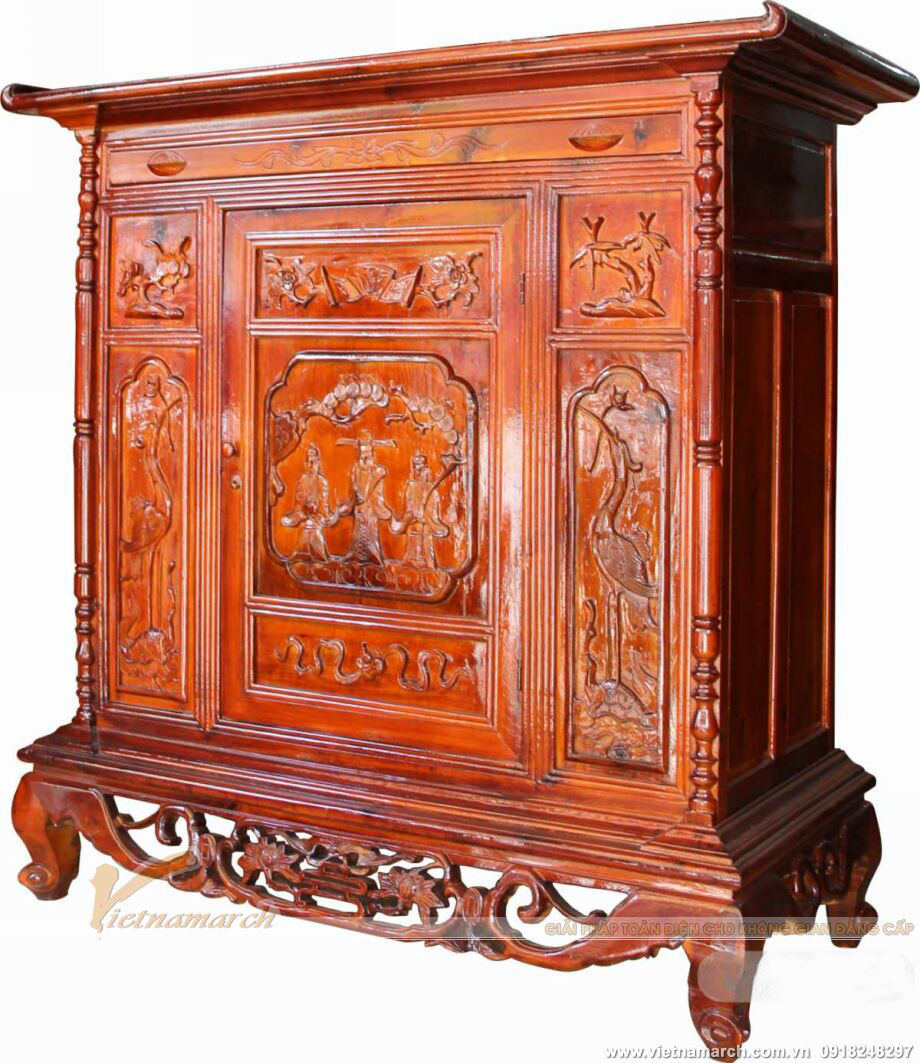 Mẫu tủ thờ mang đậm nét truyền thống