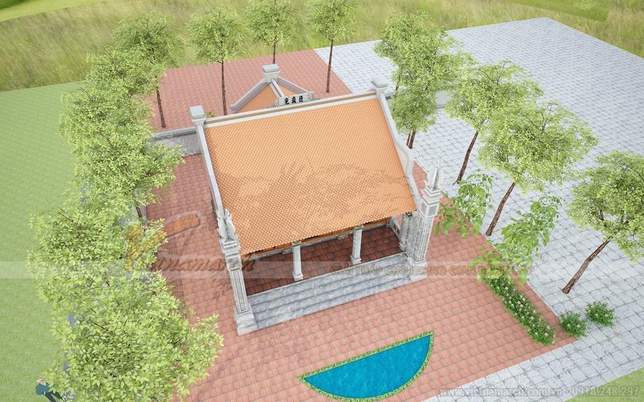 Phối cảnh tổng thể mẫu nhà thờ họ 3 gian, 2 mái có hậu cung