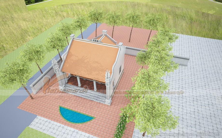 Phối cảnh dự án thiết kế nhà thờ họ có hậu cung và hồ nước xanh mát ở Hải Dương