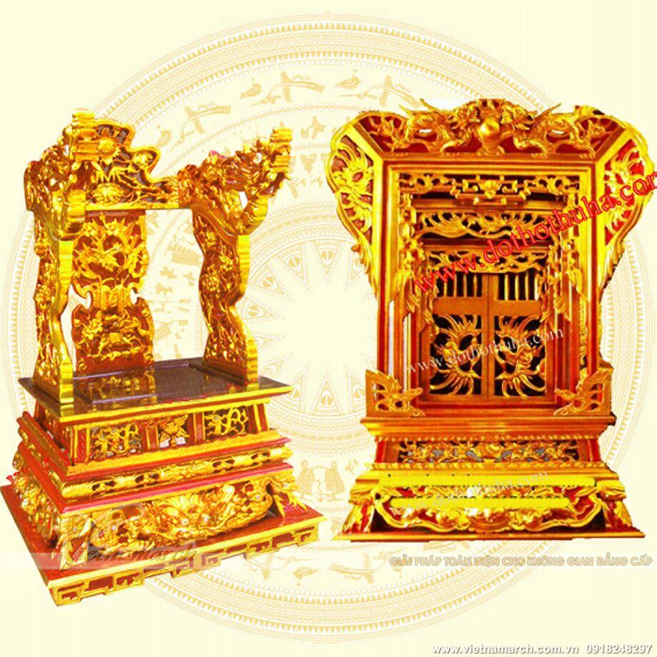 Ngai thờ, khám thờ với họa tiết tinh xảo - Sơn son thếp vàng cầu kì