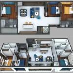 Phương án thiết kế 3 phòng ngủ cho căn hộ 15 Park 3 Times City Park Hill