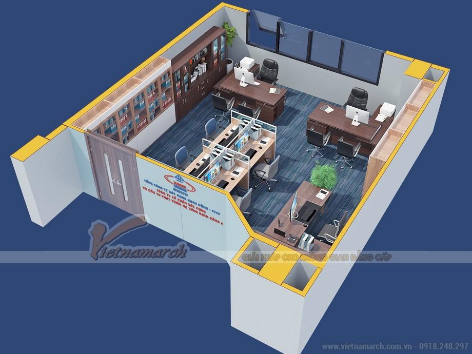 Bản vẽ 3D thiết kế văn phòng khu vực sảnh và phòng kế toán