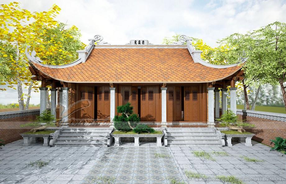 Phối cảnh mặt trước nhà thờ họ 3 gian 4 mái ở Nho Quan - Ninh Bình