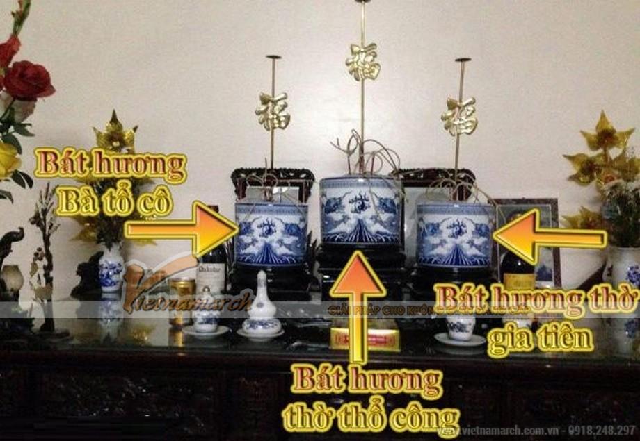 Cách bày bát hương trên bàn thờ đúng cách