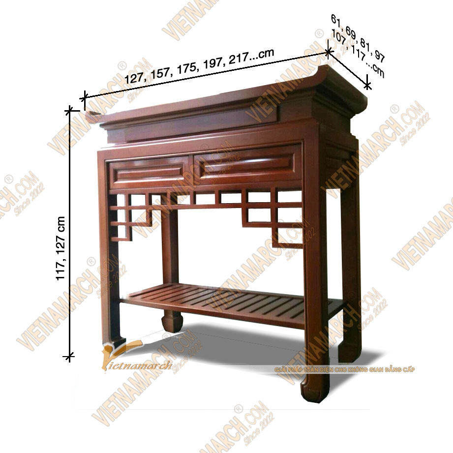Kích thước ban thờ chuẩn thước lỗ ban - được nhiều khách hàng lựa chọn đặt đóng