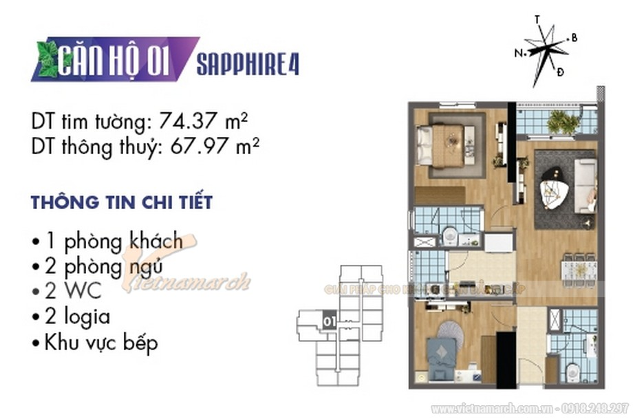 Mặt bằng căn hộ 01 tòa Sapphire 4 Goldmark City
