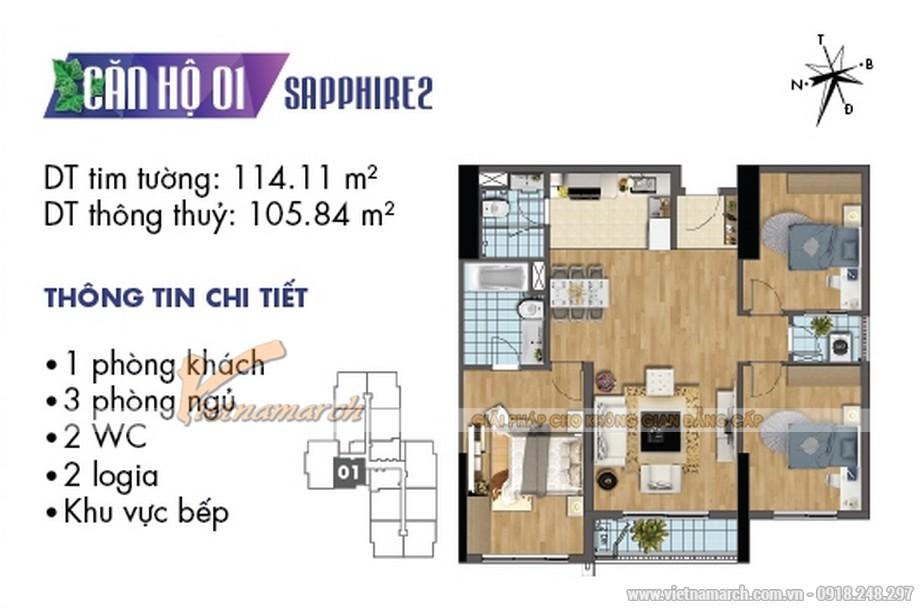 Mặt bằng nội thất căn hộ 01 tòa Sapphire 2