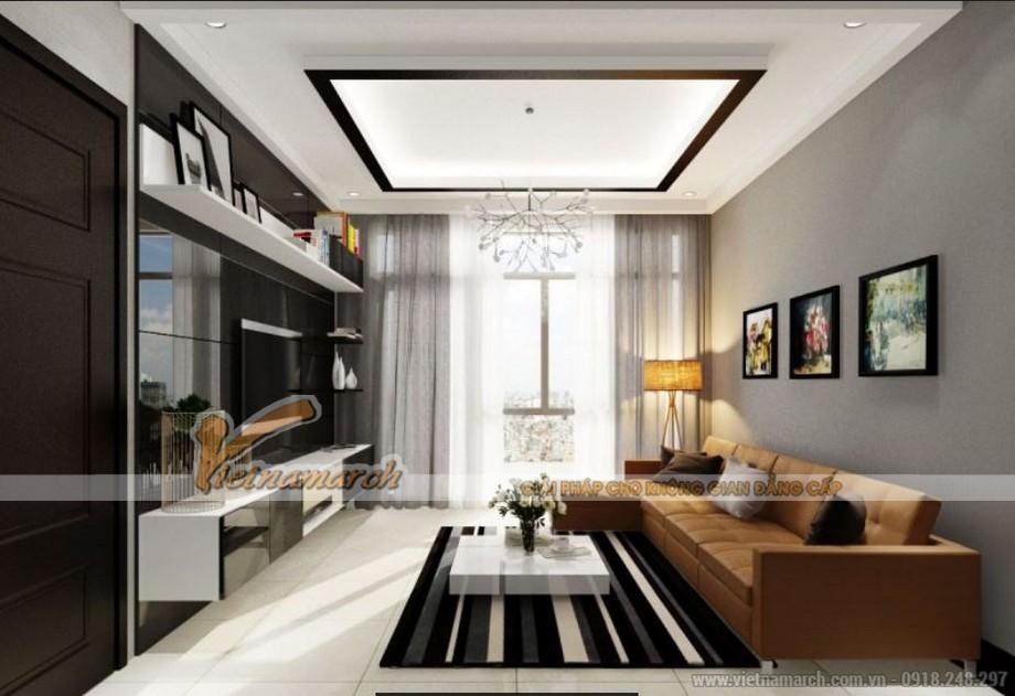 Nội thất phòng khách căn hộ 01 tòa Sapphire 2 chung cư Goldmark City