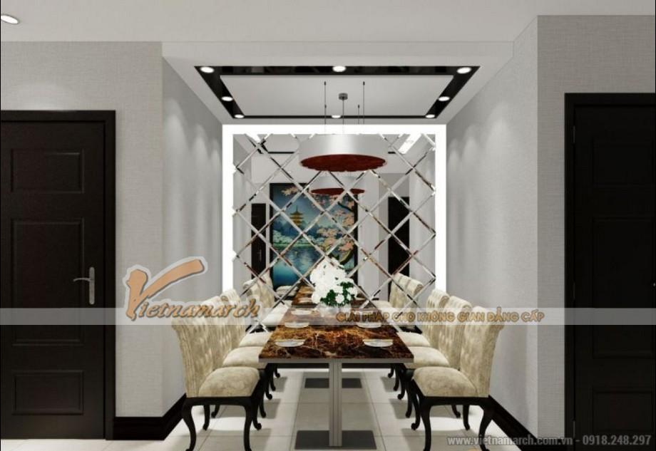 Nội thất phòng ăn sang trọng trong căn hộ tòa Sapphire 2 chung cư Goldmark City 02