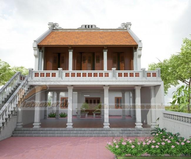 Thiết kế nhà thờ họ 2 tầng tại Thái Bình