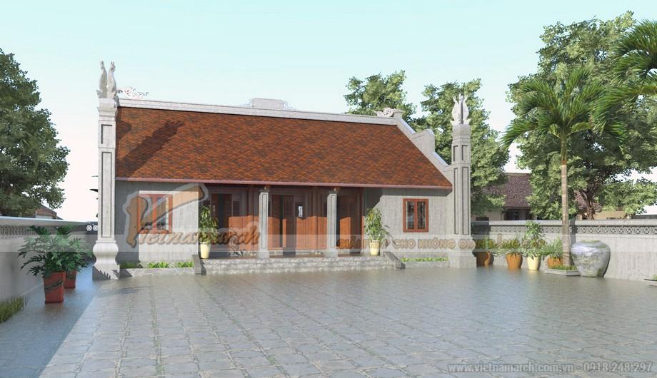 Khuôn viên rộng rãi của ngôi nhà thờ họ 5 gian 2 mái