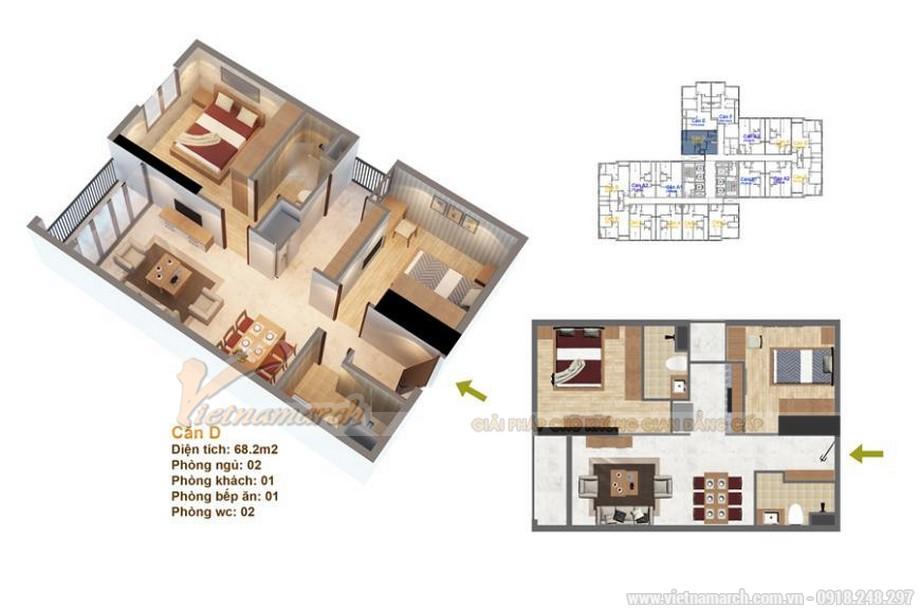 Mặt bằng thiết kế nội thất căn hộ 01 tòa ruby 3