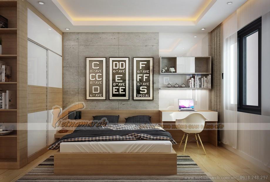 nội thất phòng ngủ nhỏ trong căn hộ 86m2 thuộc chung cư Goldmark City