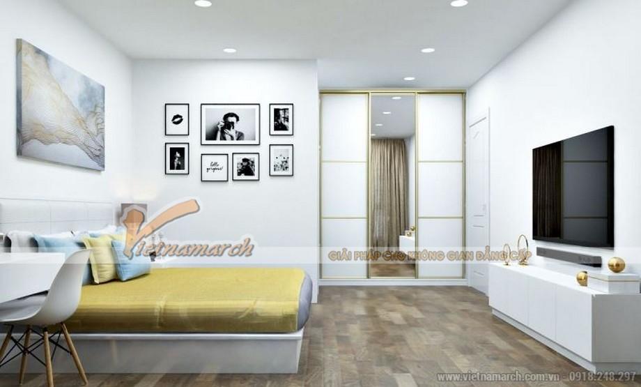 Phòng ngủ ấn tượng trong căn hộ tòa Sapphire 4 Goldmark City