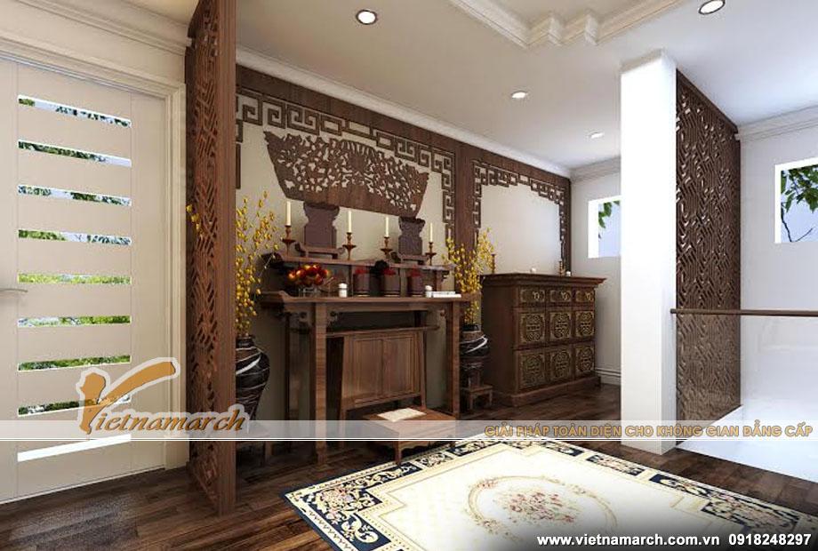 Nội thất phòng thờ - mẫu bàn thờ gỗ hiện đại được thiết kế tối giản các chi tiết hoa văn
