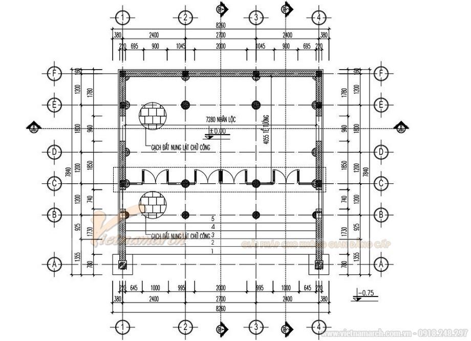 Hồ sơ thiết kế nhà thờ họ 3 gian 2 mái tại Thanh Hóa