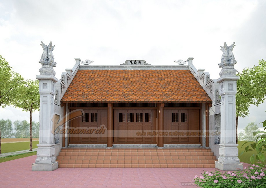 THiết  kế nhà thờ họ 2 mái truyền thống