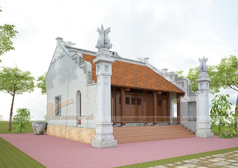 Mẫu nhà thờ họ đơn giản tại Thanh Hóa kiểu 3 gian 2 mái truyền thống