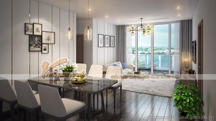 Phòng khách của căn hộ tại chung cư Vinhomes Skylake được thiết kế hiện đại với tông màu nhã nhặn