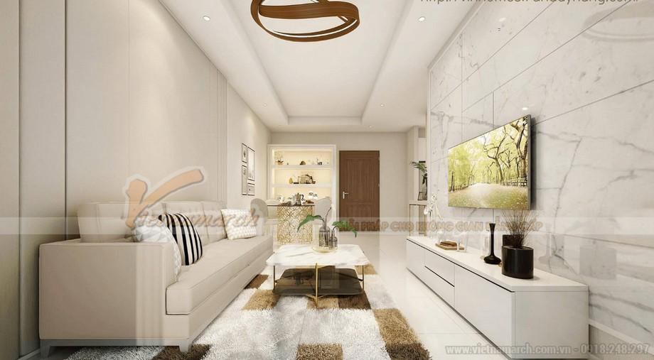Nội thất phòng khách phong cách hiện đại căn hộ Vinhomes Green Bay Mễ Trì