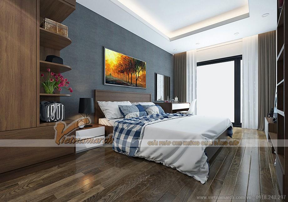 Phòng ngủ căn hộ tòa ruby 01 Goldmark City ấm áp sâu lắng