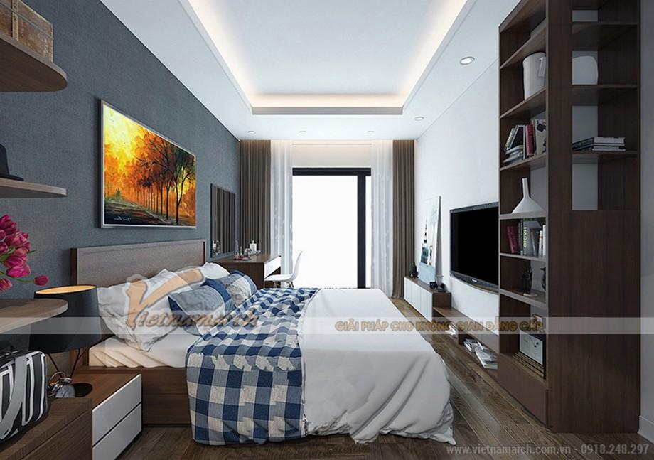 Phòng ngủ căn hộ tòa ruby 01 Goldmark City ấm áp sâu lắng 02