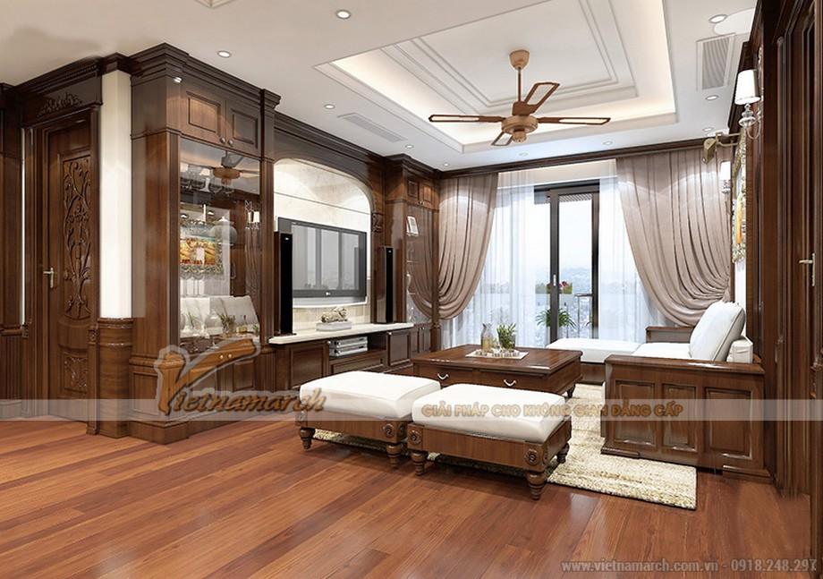 Thiết kế nội thất phòng khách căn hộ 06 tòa ruby 1 Goldmark City