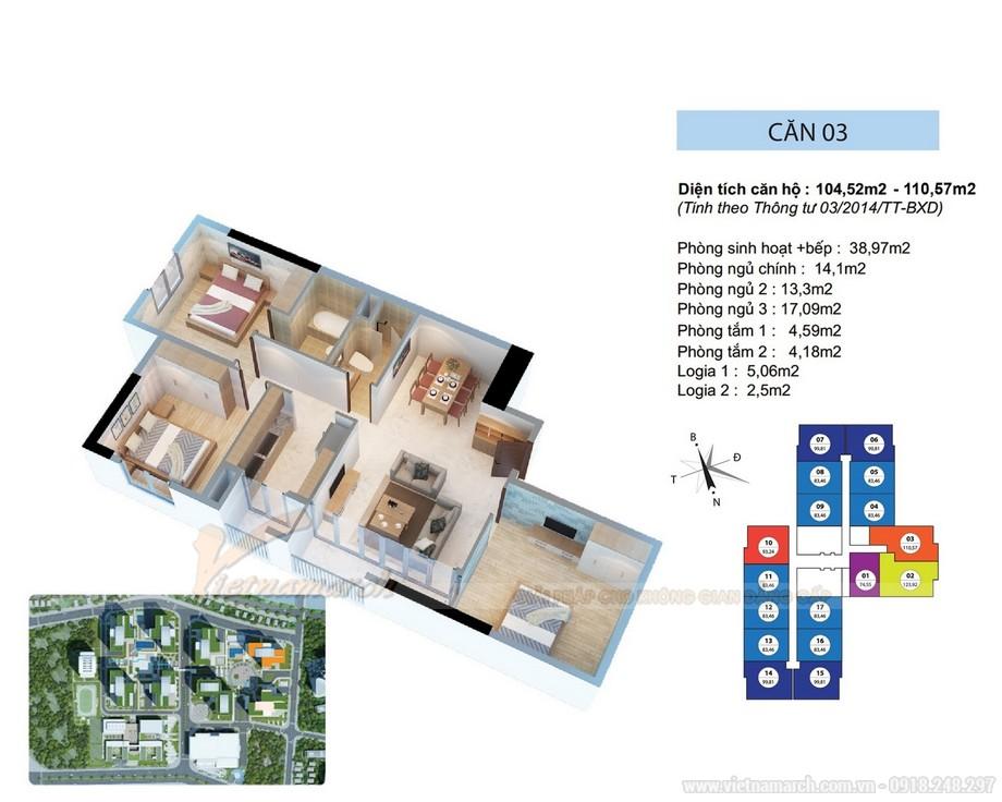 Thiết kế nội thất căn hộ Ruby 03 tòa chung cư Goldmark city-01