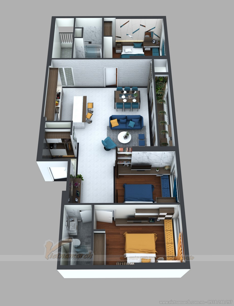 mặt bằng cải tạo căn hộ 15 Park 8