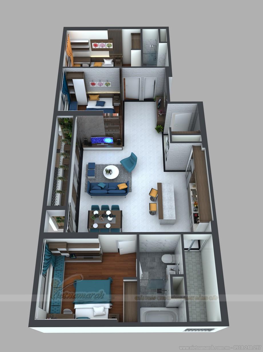 Mặt bằng cải tạo, thiết kế nội thất cho căn hộ 15 Park8
