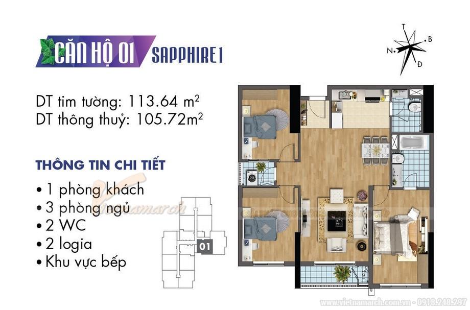 Thiết kế nội thất phong cách tân cổ điển cho căn hộ 01 tòa Sapphire 1-01