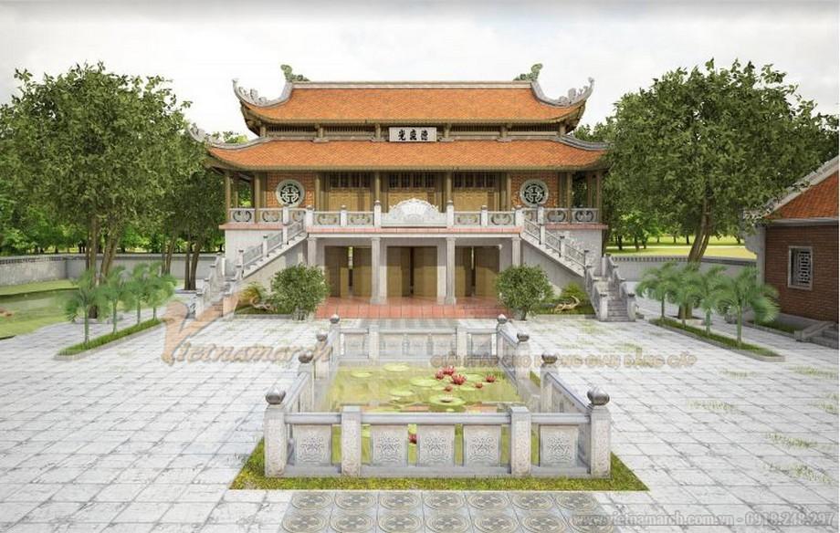 Sân vườn với hồ nước công trình nhà thờ họ 2 tầng 8 mái tại Bắc Giang