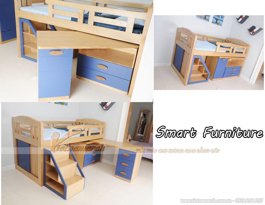 Mẫu giường tầng thông minh 3 trong 1 cho phòng của trẻ