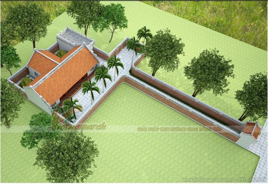 Phối cảnh công trình nhà thờ họ 3 gian 2 chái được thiết kế theo kiểu nhà cổ 5 gian ở Hải Dương